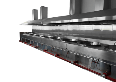 32 – Sistema de calentamiento para cazos con quemadores independientes y una sola turbina de aire